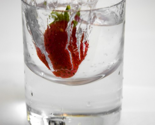 glass of water with strawberry