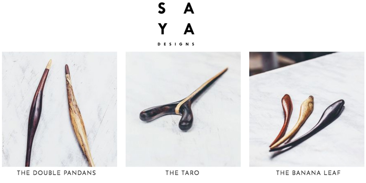 Saya hair sticks collection at the Tabitha James Kraan Organic Hair Salon