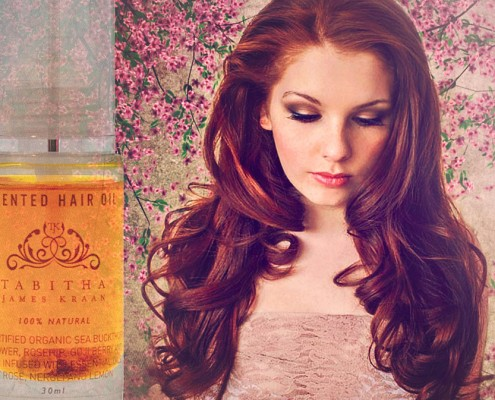 Tabitha James Kraan Scented Hairoil to achieve a deep, glossy colour and protect your hair from the sun